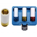 """3-piece Protective Impact Sockets Set, 1/2"""" with Plastic Cover, 17-19-21 mm"""